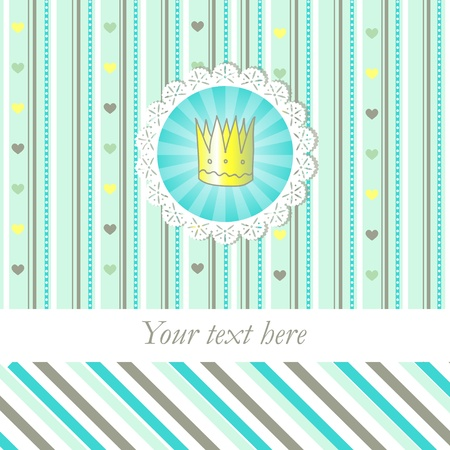 Sherbet color card with little crown Vector