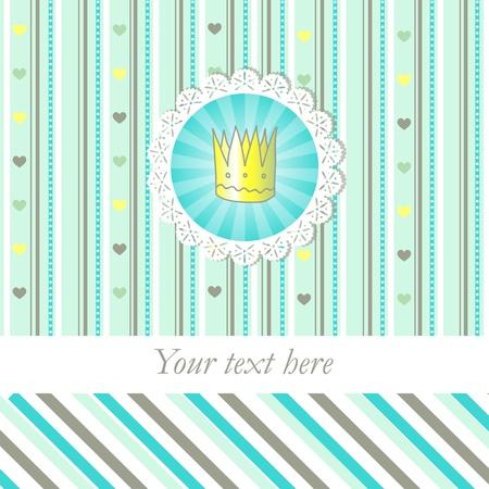 feminine background: Sorbete de tarjeta de color con coronita