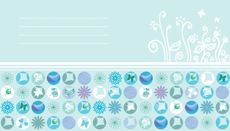 Hearts, herbs and eco motif  card Vector