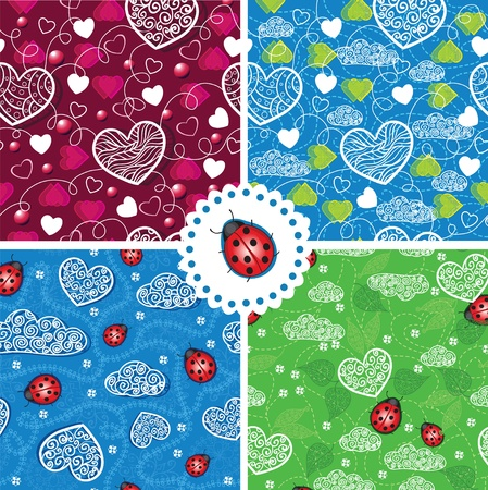 Set of seamless hearts and ladybugs patterns Vector