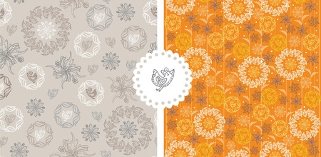 Set of floral seamless pattern with deco bird Vector