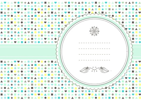 Hearts and mint motif  card Illustration