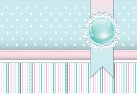 Scrapbook styled cover with badge and ribbon Vector
