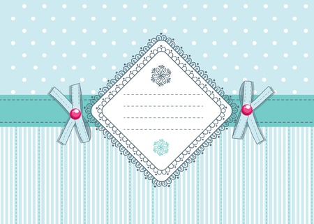 Cute retro card  with flirty bows and place for text Vector