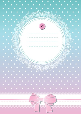Sweet greeting card with bow, lace and place for text Vector