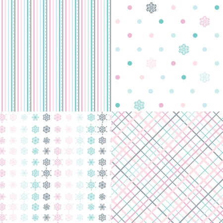 Set of spring pastel seamless patterns Vector
