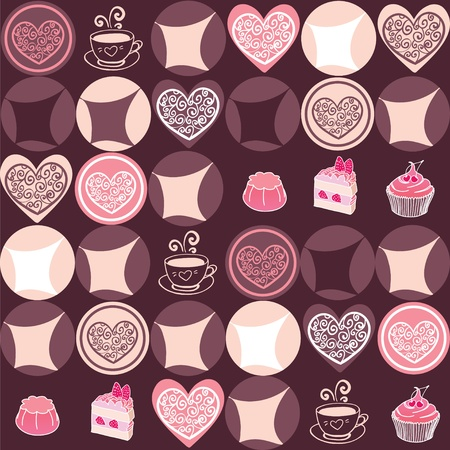 Sweet hearts and chocolate seamless pattern Stock Vector - 13278622