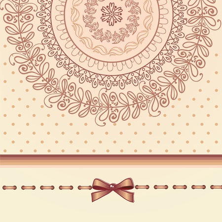 Retro styled invitation bow card Stock Vector - 13403394