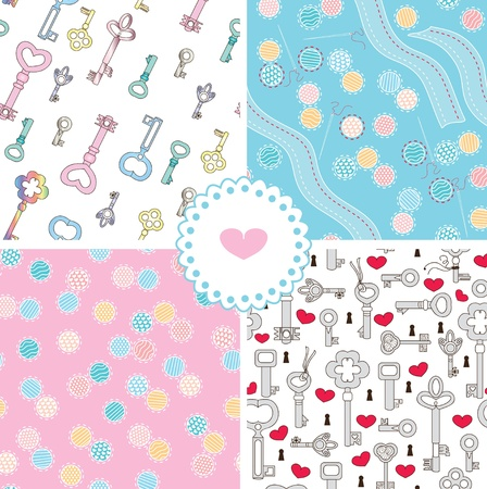 Seamless patterns set and cute element heart Stock Vector - 13403401
