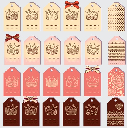 Unique crown labels with place for text