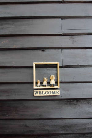 Beautiful black wooden welcome wall