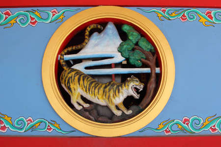 Tiger Wall Chinese temple in Thailand  Editorial