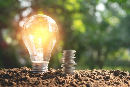 Lightbulb with coins concept put on the soil under green nature background. 免版税图像