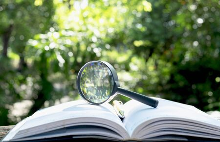 magnifying glass with a book on wooden  in nature background concept.