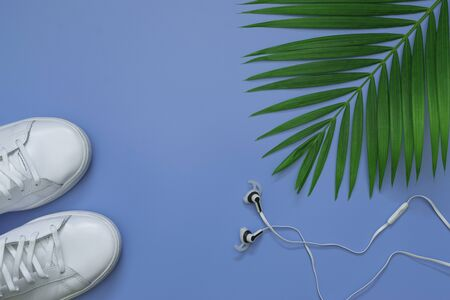 Flat lay, top view with shoes,earphone and green leaf tropical palm for travel,summer and holiday concept on soft blue background.