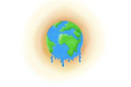 The earth drawing for global warming concept.