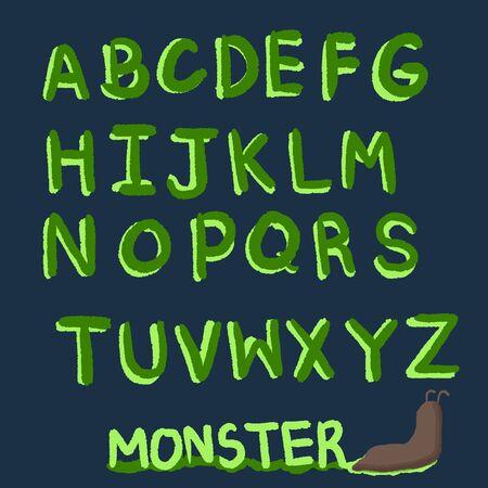 Concepto de monstruo de color verde de ilustración de alfabeto de abc de fuente.