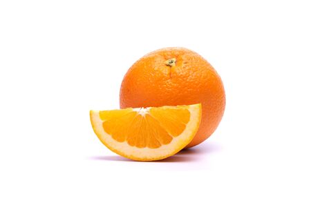 Orange juice putting on white background in food and fruit concept.