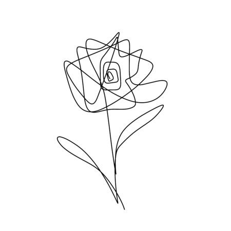 Rose one line drawing on white background.