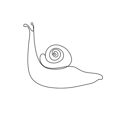 Snail one line drawing on white background. 版權商用圖片 - 130102053