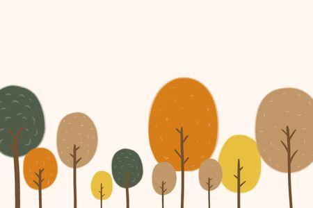 Trees of autumn season with strawberry cream illustration hand drawn pattern background.