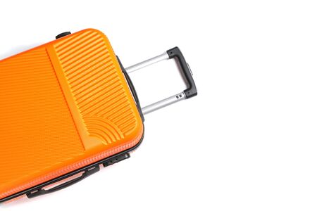Orange suitcase isolated on white background for summer, vacation concept.