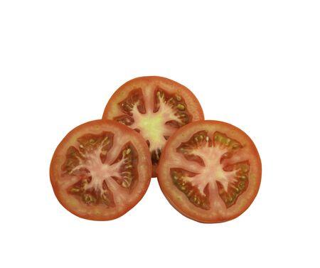 Tomatoes slice isolated for organic food on white background.