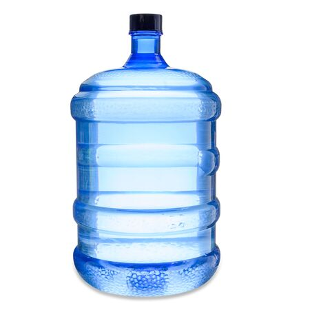Water gallon in blue plastic isolated on white background with clipping path.