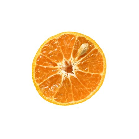 A piece of orange sliced isolated on white background with clipping path.