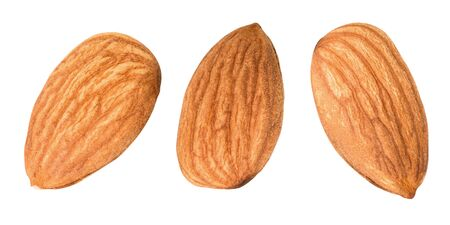 Almonds isolated on white background with clipping path.