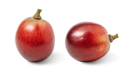 Close-up group red grape isolated on white background with clipping path.