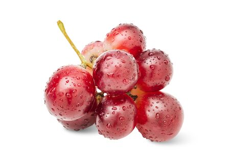 Close-up group red grape with water drop isolated on white background clipping path.
