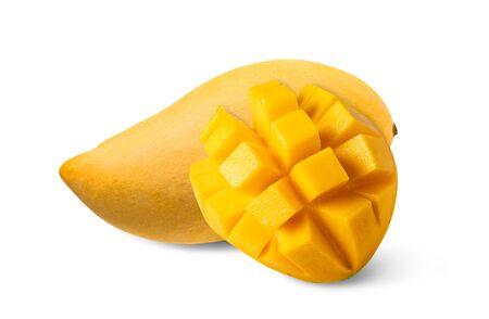 Ripe mango isolated on white background.