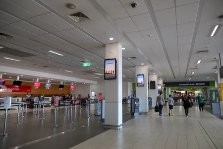 CAIRNS, AUSTRALIA - 24 Dec 2017-  Inside shot of The Cairns Airport (CNS) is located in Far North Queensland, Australia. It brings tourists to the Great Barrier Reef.