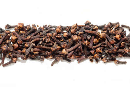 Clove spice placed on white background can use for your messages