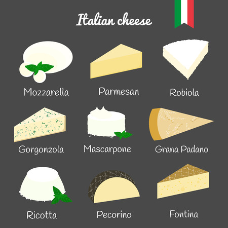 Italian cheese collection on the blackboard. Mozzarella, parmesan, robiola, gorgonzola, mascarpone, grana padano, ricotta, pecorino, fontina. Illustration