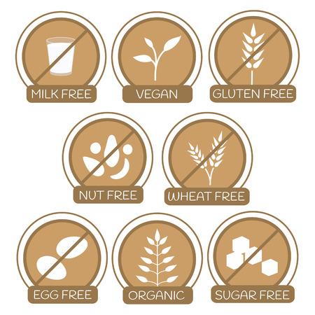lacteos: Conjunto de iconos para alergenos productos gratuitos. Leche libre, libre de gluten, sin frutos secos, libre de trigo, huevo, sin az�car. Iconos org�nicos y veganos. Concepto de estilo de vida saludable. Texto. Tambi�n se puede utilizar para productos veganos, vegetarianos y diet�ticos. Vectores
