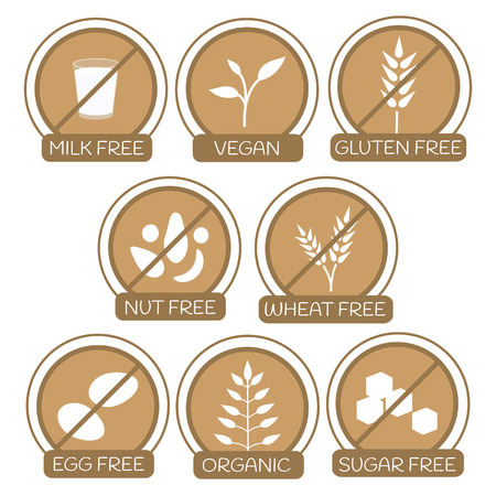 Set of icons for allergens free products. Milk free, gluten free, nut free, wheat free, egg free, sugar free. Organic and vegan icons. Healthy lifestyle concept. Text. Also can be used for vegan, vegetarian and dietary products. 向量圖像