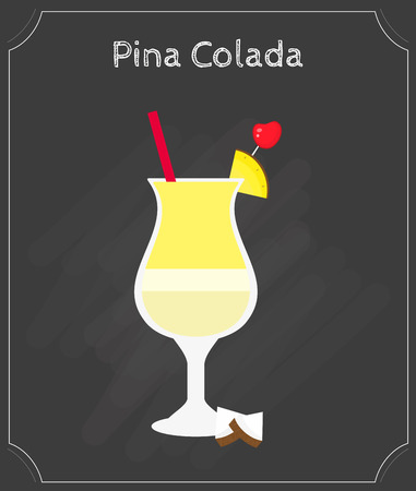 pina colada: Pina Colada fresh drink isolated on the blackboard. Element of menu. Illustration