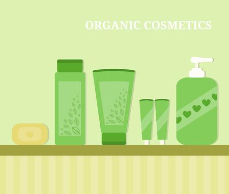 cosmeticos: Cosméticos biológicos. Concepto de estilo de vida saludable. Tubos y botellas con cosméticos. Colores verdes. Diseño de estilo plano con sombras. Belleza y cuidado de la salud. Vectores