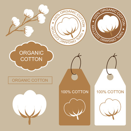 Set of organic labels, tags and stickers with cotton. 100 Organic cotton. Ilustração