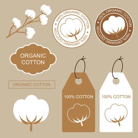 Set von Bio-Etiketten, Etiketten und Aufkleber mit Baumwolle. 100 Bio-Baumwolle. Standard-Bild - 43832155