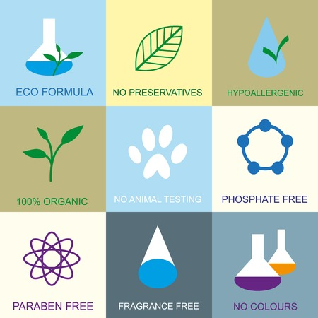 preservatives: Conjunto de iconos planos org�nicos.