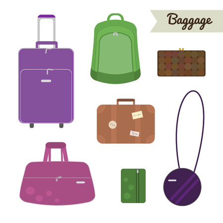 Baggage set. Travel bag, backpack, clutch, case, suitcase, handbag, valise, purse. Flat style elements.