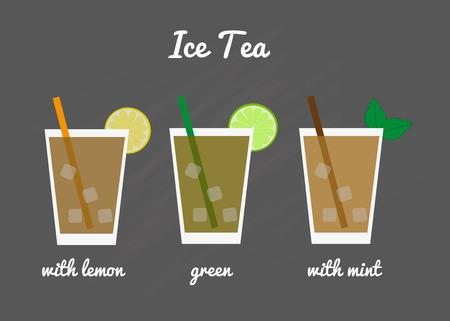 Ice tea menu. Iced tea with lemon, mint and green ice tea.