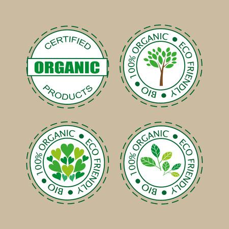 Labelsstickers pour les produits biologiques, les aliments et les cosmétiques. Lot de badges de produits naturels organiques.