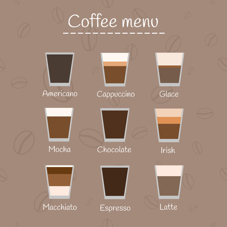glace: Coffee menu on seamless background with coffee beans. Different types of coffee. Perfect for menu.