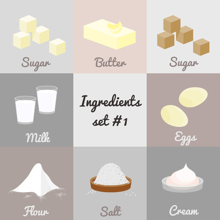Cooking iIngredients set 1. White sugar, butter, brown sugar, milk, eggs, flour, salt, cream. Ilustração