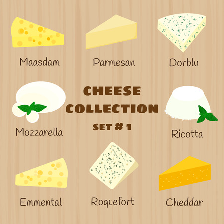 Cheese collection on wooden background. Maasdam, parmesan, dorblu, mozzarella, ricotta, emmental, roquefort, cheddar. Set 1. Illustration