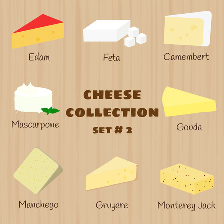 cheese: Cheese collection on wooden background. Set 2. Edam, feta, camembert, mascarpone, gouda, manchego, gruyere, monterey jack.
